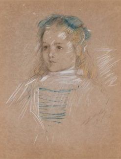 Young Girl with Blue Bow | Edwin Austin Abbey | Oil Painting