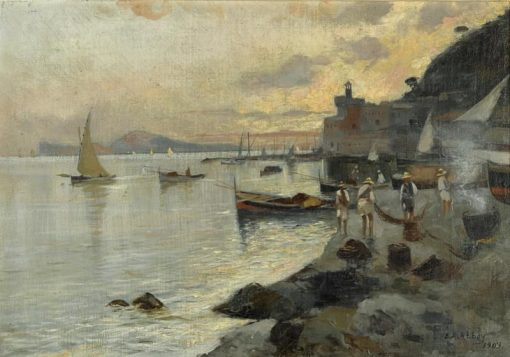 Fishermen on the Shore at Sunset | Edwin Austin Abbey | Oil Painting