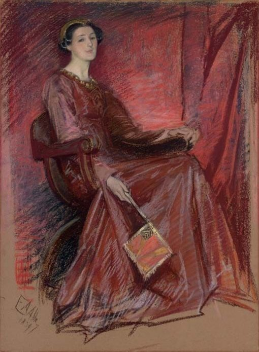 Portrait of a Woman Wearing an Elizabethan Headdress | Edwin Austin Abbey | Oil Painting