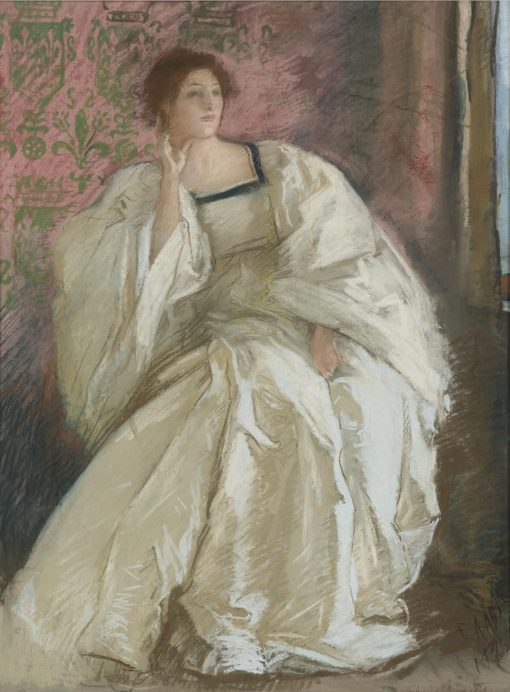 The Woman in White | Edwin Austin Abbey | Oil Painting