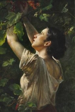 Young Girl Picking Grapes | Elisabeth Jerichau Baumann | Oil Painting