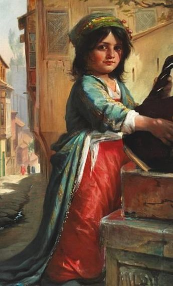 A Small Girl from the Middle East in Colorful Clothes | Elisabeth Jerichau Baumann | Oil Painting