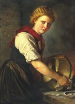 Young Girl Polishing a Copper Pot | Elisabeth Jerichau Baumann | Oil Painting
