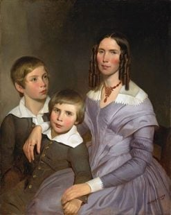 Portrait of a Lady with Her Two Sons | Emanuel Gottlieb Leutze | Oil Painting
