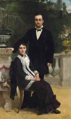 An Elegant Couple on a Terrace   Emile Munier   Oil Painting