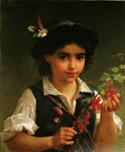 A Young Boy Holding a Branch of Berries   Emile Munier   Oil Painting