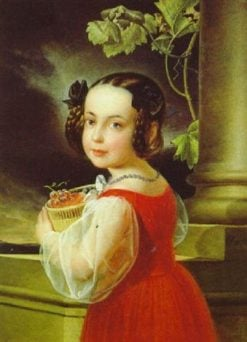Portrait of a Girl with a Basket of Grapes | Erasmus Engert | Oil Painting