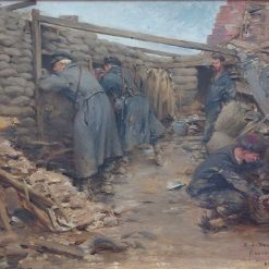 Soldiers in a Trench | Ernest Jean Delahaye | Oil Painting
