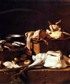 Kitchen Still Life with Poultry and Snails | Evaristo Baschenis | Oil Painting