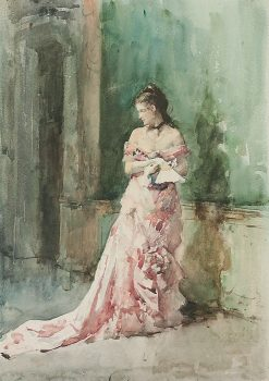 Portrait of a Lady in an Evening Dress with a Fan | Francisco Pradilla y Ortiz | Oil Painting