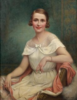 Portrait of a Women in a White Dress(also known as Portrait de femme en robe blanche) | Francois Martin Kavel | Oil Painting