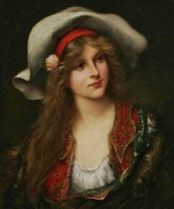 Young Woman with Floppy Hat | Francois Martin Kavel | Oil Painting