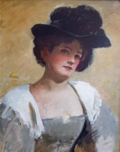 Lady in a Black Hat | Frank Duveneck | Oil Painting