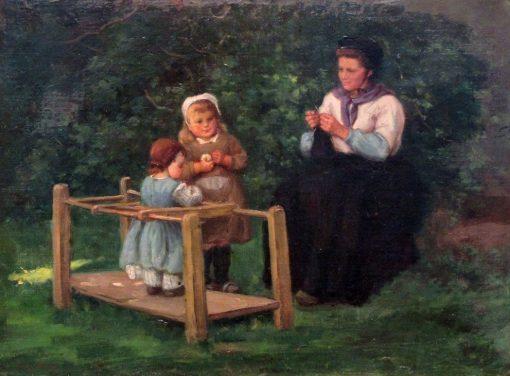 Knitting Lesson | Frantz Charlet | Oil Painting