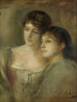 Half-length Portrait of Two Young Ladies | Franz von Lenbach | Oil Painting