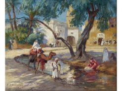 A View of an Algerian Village | Frederick Arthur Bridgman | Oil Painting