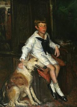 Portrait of a Boy with his Dog | Frederick William MacMonnies | Oil Painting