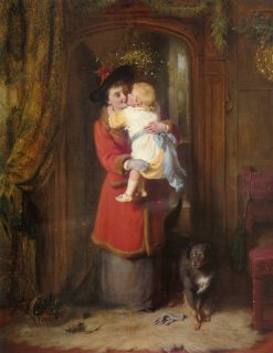 The Christmas Kiss(also known as Under the Mistletoe) | George Bernard O'Neill | Oil Painting