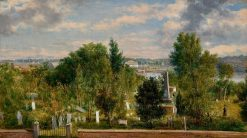 New England Landscape with Cemetery (possibly Medford