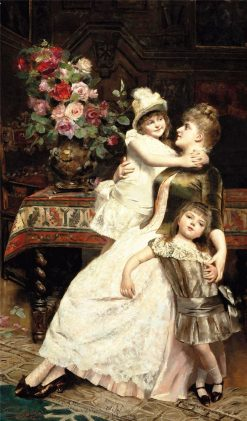 Happy Mother(also known as Heureuse mere) | Georges van den Bos | Oil Painting