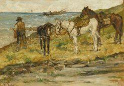 Landscape with Horses   Giovanni Fattori   Oil Painting