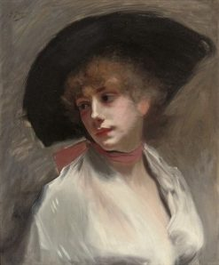 An Elegant Lady in a Black Hat | Gustave Jean Jacquet | Oil Painting