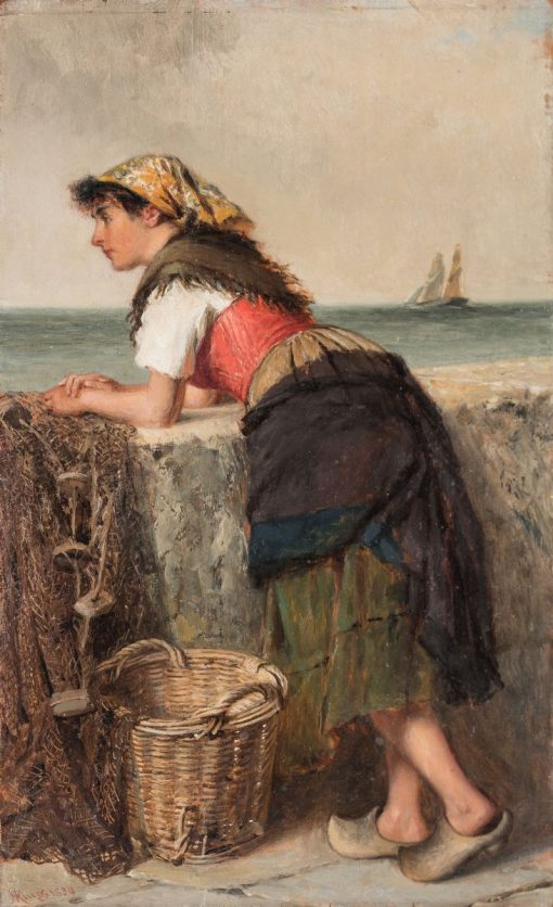 Fisherwoman at Wall   Haynes King   Oil Painting