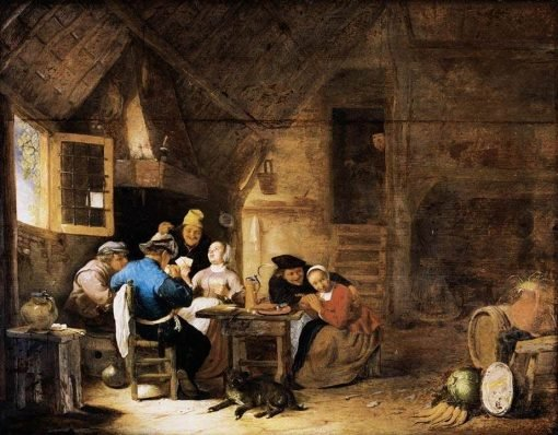 Interior with Peasants Playing Cards | Hendrik Martensz. Sorgh | Oil Painting
