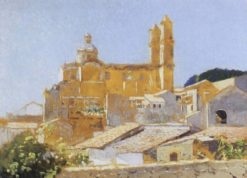 Southern European Village with View of a Catherdral   Hermann Dudley Murphy   Oil Painting
