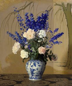 Delphiniums And Roses in a Blue and White Porcelain Vase | Hermann Dudley Murphy | Oil Painting