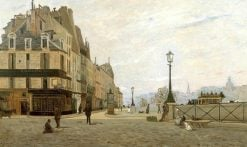 The Pont-Neuf and the Quai des Orfevres from the Place du Pont-Neuf | Hippolyte Camille Delpy | Oil Painting