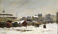 Paris in the Snow: La Rue des Martyrs | Hippolyte Camille Delpy | Oil Painting