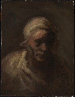 Head of an Old Woman | HonorE Daumier | Oil Painting