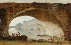Imaginary View of the Louvre through the Arch of a Bridge | Hubert Robert | Oil Painting