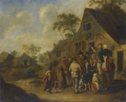 Figures Proclaiming the News on Barrels Outside an Inn | Jan Miense Molenaer | Oil Painting