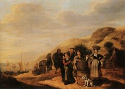 Beach Scene with Fish Folk | Jan Miense Molenaer | Oil Painting