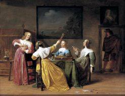 Elegantly Dressed Women Smoking and Drinking   Jan Olis   Oil Painting