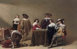 Elegant Company Playing Cards   Jan Olis   Oil Painting