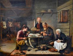 Peasant's Meal in the Stable | Jan Victors | Oil Painting
