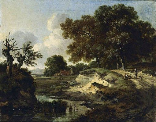 A Wooded Landscape with a house in the Background and a Figure | Jan Wijnants | Oil Painting