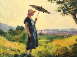 Lady with Parasol   Janos Thorma   Oil Painting