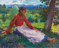 Sitting Woman   Janos Thorma   Oil Painting