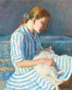 Girl in a Stripped Dress(also known as Girl with Cat)   Janos Thorma   Oil Painting