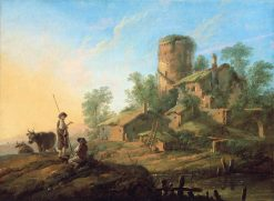Pastoral Landscape with Shepherds | Jean Pillement | Oil Painting