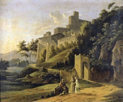 Landscape with a Fortress and a Beggar | Jean Victor Bertin | Oil Painting