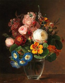 A bunch of colourful flowers | Johan Laurentz J.L. Jensen | Oil Painting