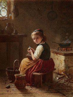 Little Scullery Maid Peeling Potatoes | Johann Georg Meyer von Bremen | Oil Painting