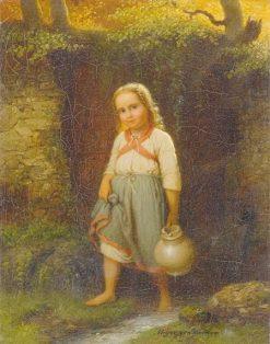 Small Girl with Jug | Johann Georg Meyer von Bremen | Oil Painting