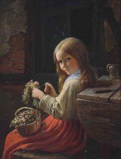 The Young Flower Girl | Johann Georg Meyer von Bremen | Oil Painting