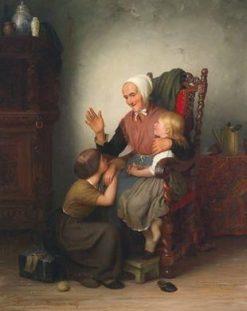 Bei der Großmutter(also known as With Grandmother) | Johann Georg Meyer von Bremen | Oil Painting